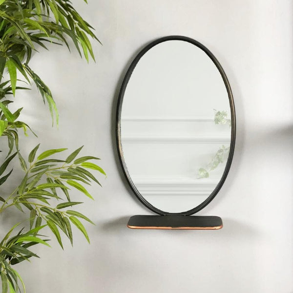 Industrial Oval Shelf Mirror - Copper Detail at the Farthing 1