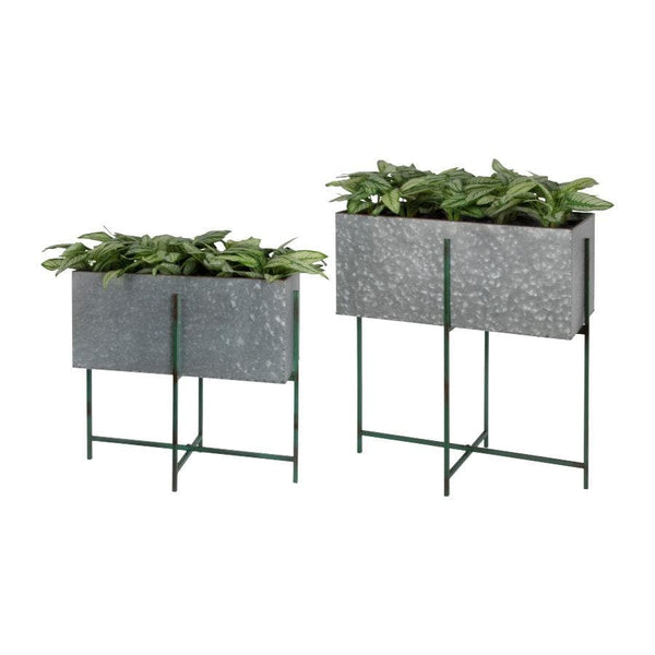 Industrial Raised Rectangle Metal Plant Pot - On Stand | The Farthing