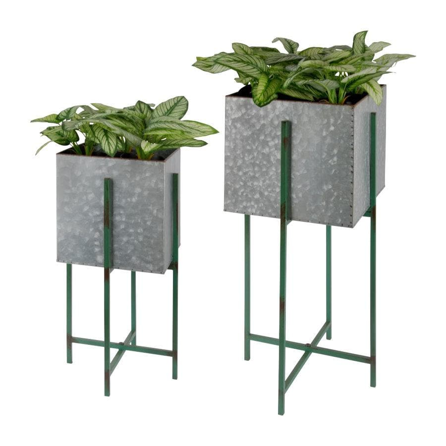 Industrial Raised Square Metal Plant Pot - On Stand | The Farthing