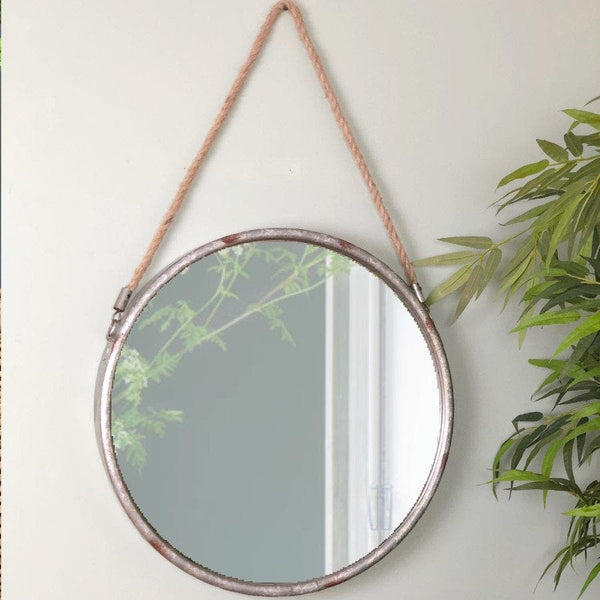 Industrial Round Hanging Rope Mirror at the Farthing