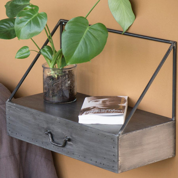 Industrial Triangle Frame Shelf with Drawer | The Farthing 2
