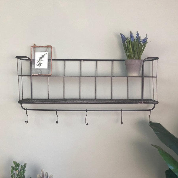 Industrial Vintage Wall Shelf with Hooks | The Farthing