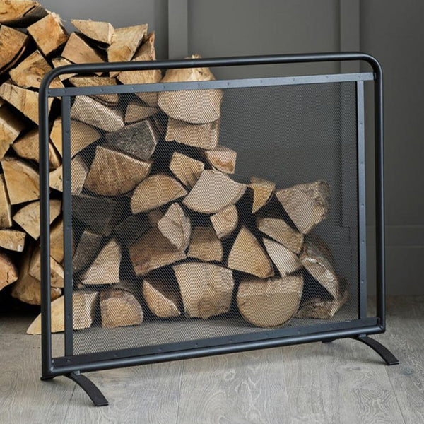 Jutland Flat Black Firescreen | Flat Black Metal Fire Screen