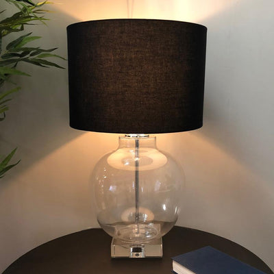 Large Round Glass Table Lamp & Black Shade 2