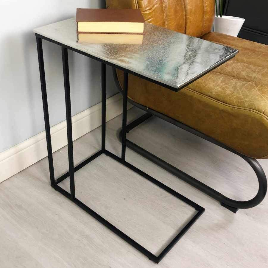 L Shaped Side Table - Distressed Silver Nickel