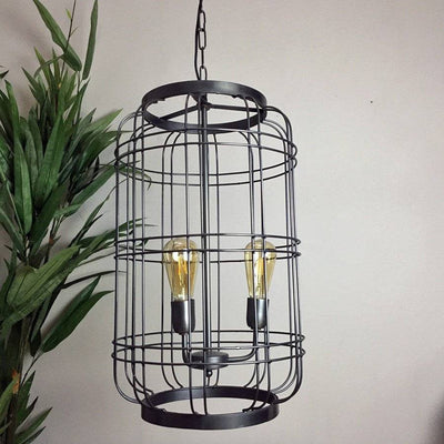 Large Industrial Cage Hanging Pendant Lamp - The Farthing