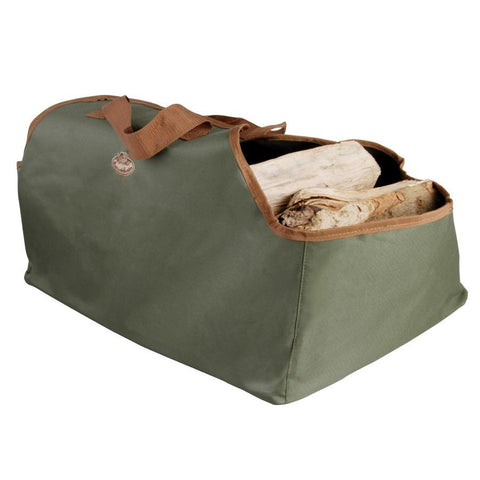 Large Canvas Wood Log Carrier Bag - Olive Green - The Farthing  - 1