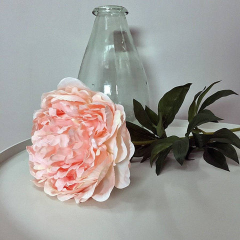 Large Faux Open Peony Stem - Pink at the Farthing