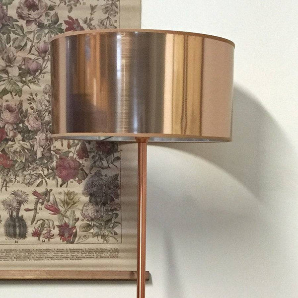 Large Flat Mirrored Mia Copper Cylinder Lamp Shade - The Farthing