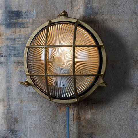 Large Industrial Round Bulk Head Light - Brass - The Farthing