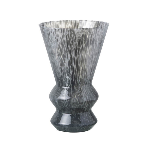 Large Mottled Grey Glass Vase - The Farthing  - 1