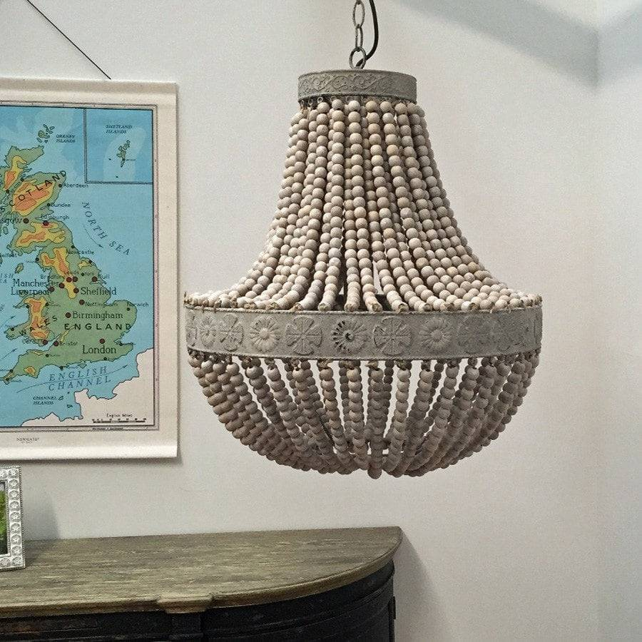 Large Old White Beaded Vintage Style Pendant Light - The Farthing
