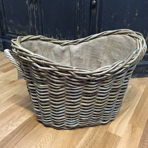 Large Oval Natural Wicker Log Basket with Handles - The Farthing  - 1