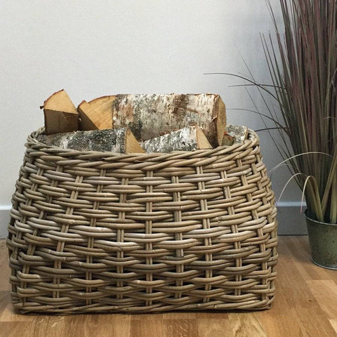 Large Oval Topped Rectangle Log Basket - The Farthing
