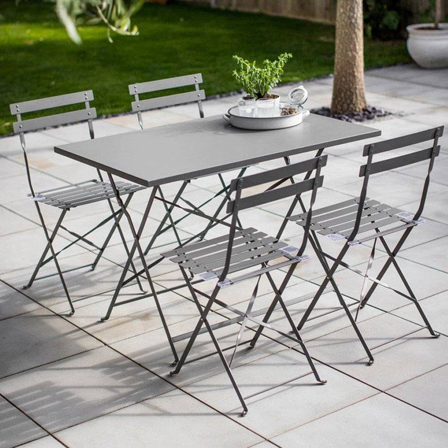 Large Rectangular Bistro Set Of Table And 4 Chairs   Charcoal   The Farthing