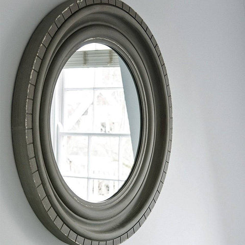 Large Round Distressed Grey Mirror at the Farthing