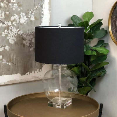 Large Round Glass Table Lamp & Black Shade | Farthing 2