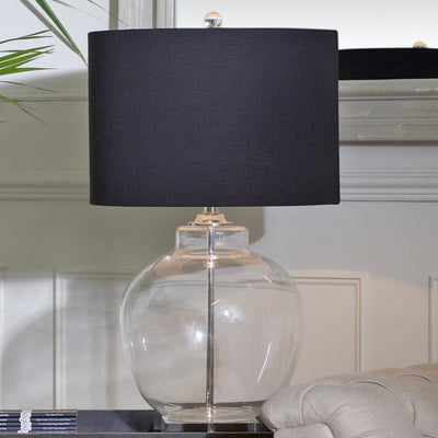 Large Round Glass Table Lamp & Black Shade