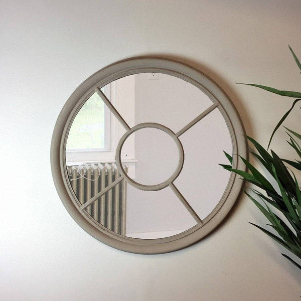 Large Round Rustic Window Mirror - The Farthing