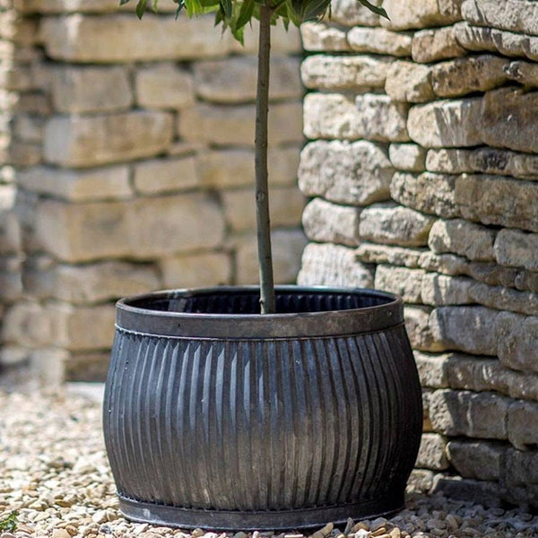 Large Round Shallow Rustic Vence Fluted Zinc Planter - The Farthing