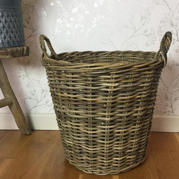 Large Rustic Wicker Log Basket | Farthing