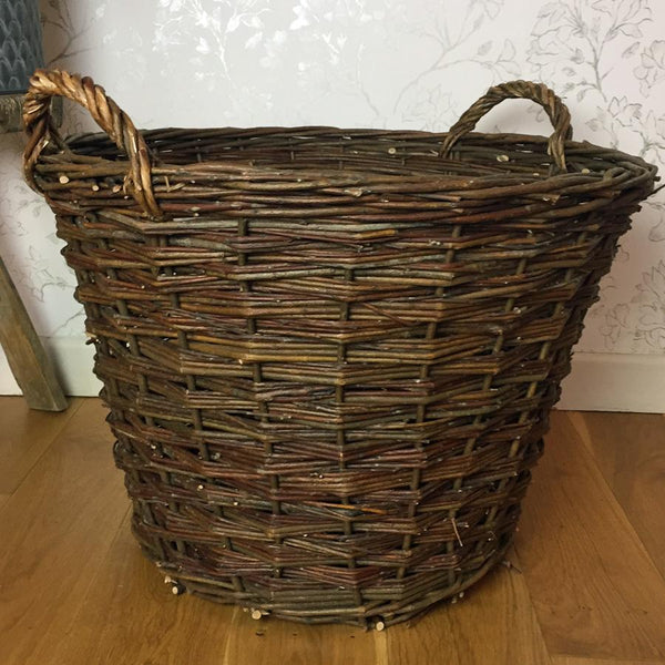 Rustic Round Willow Log Basket | Farthing