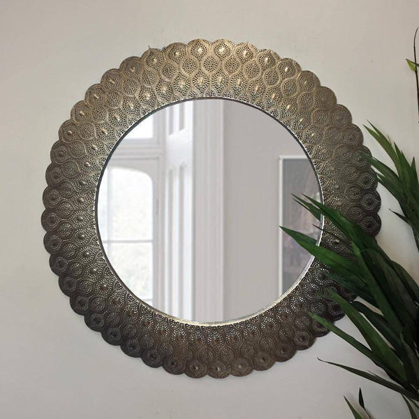 Large Shimmering Filigree Round Wall Mirror - The Farthing
