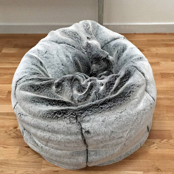 Large Shimmering Grey Luxury Soft Faux Fur Siberian Fox Beanbag - The Farthing