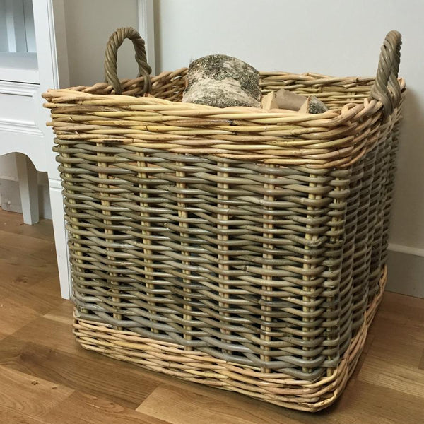 Large Two Tone Log Basket in Rattan | The Farthing