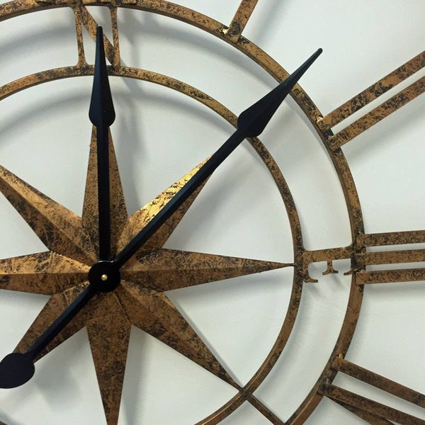 Large Gold Nautical Compass Skeleton Wall Clock Antique