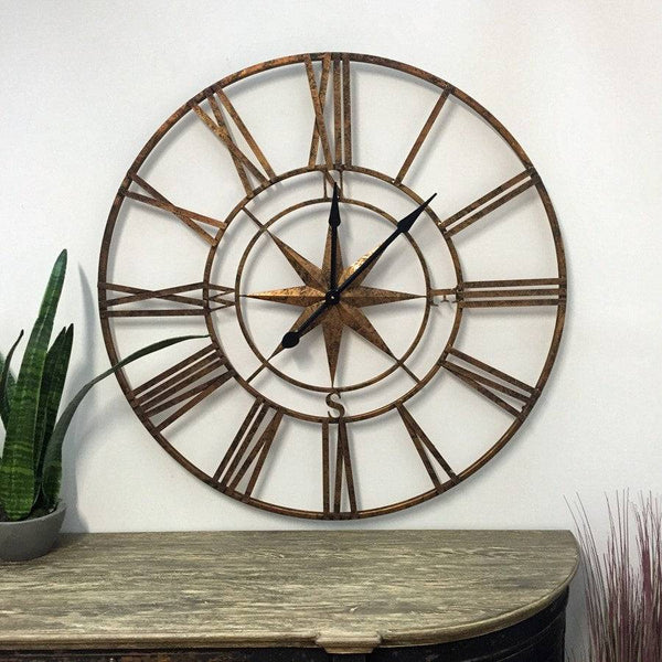 Oversized Vintage Gold Skeleton Compass Clock - The Farthing