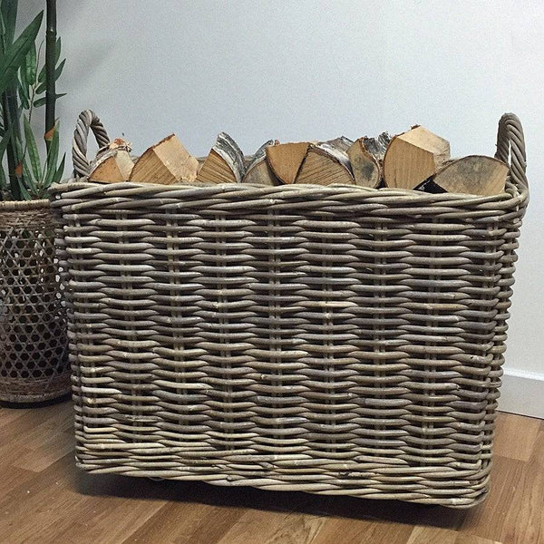 Large Wheeled Rattan Log Basket at the Farthing