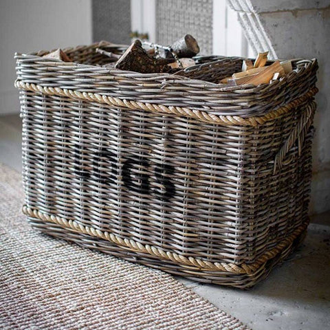 Log Basket with Rope - Rectangle - The Farthing