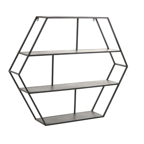 Large Black Metal Hexagon Wall Shelf Unit