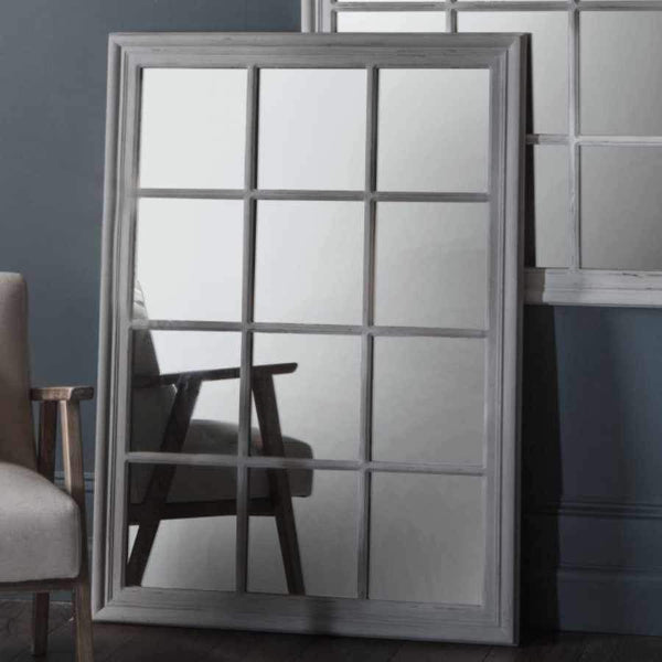 Large Distressed Grey Window Mirror  1