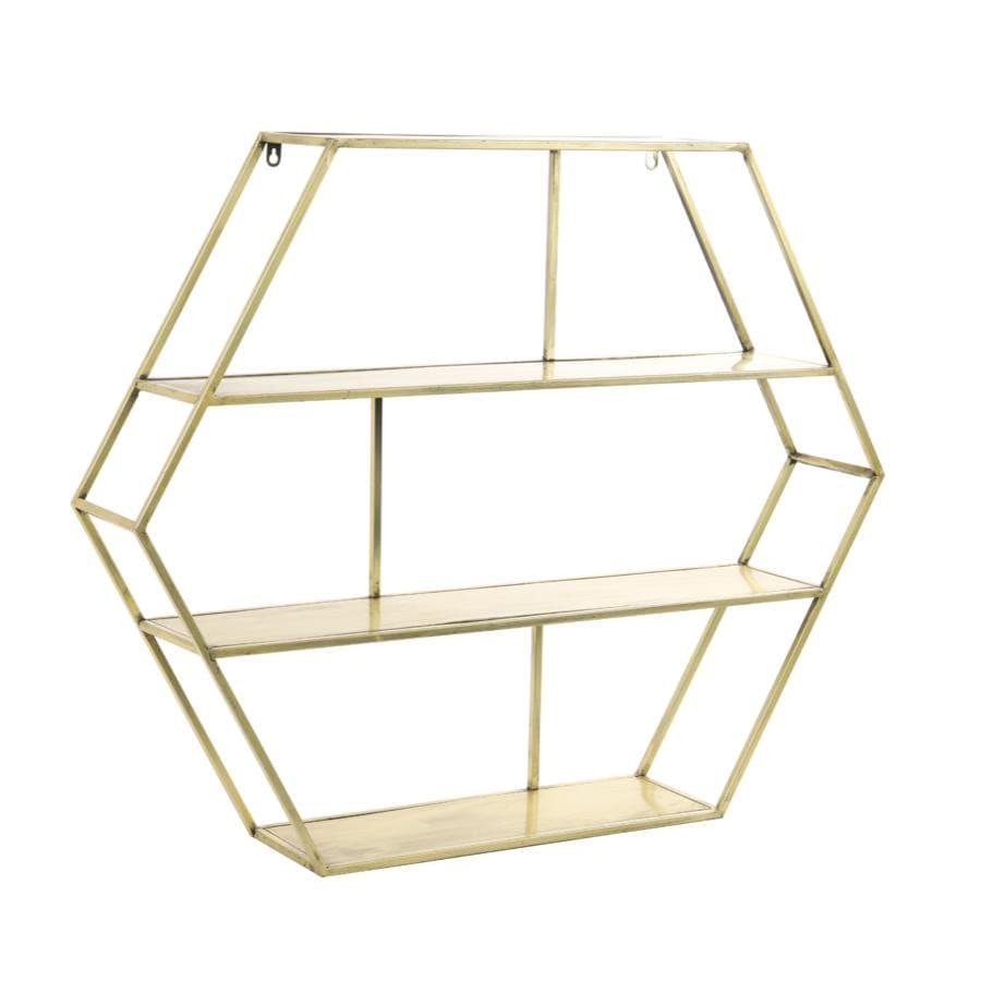 Large Gold Metal Hexagon Wall Shelf Unit