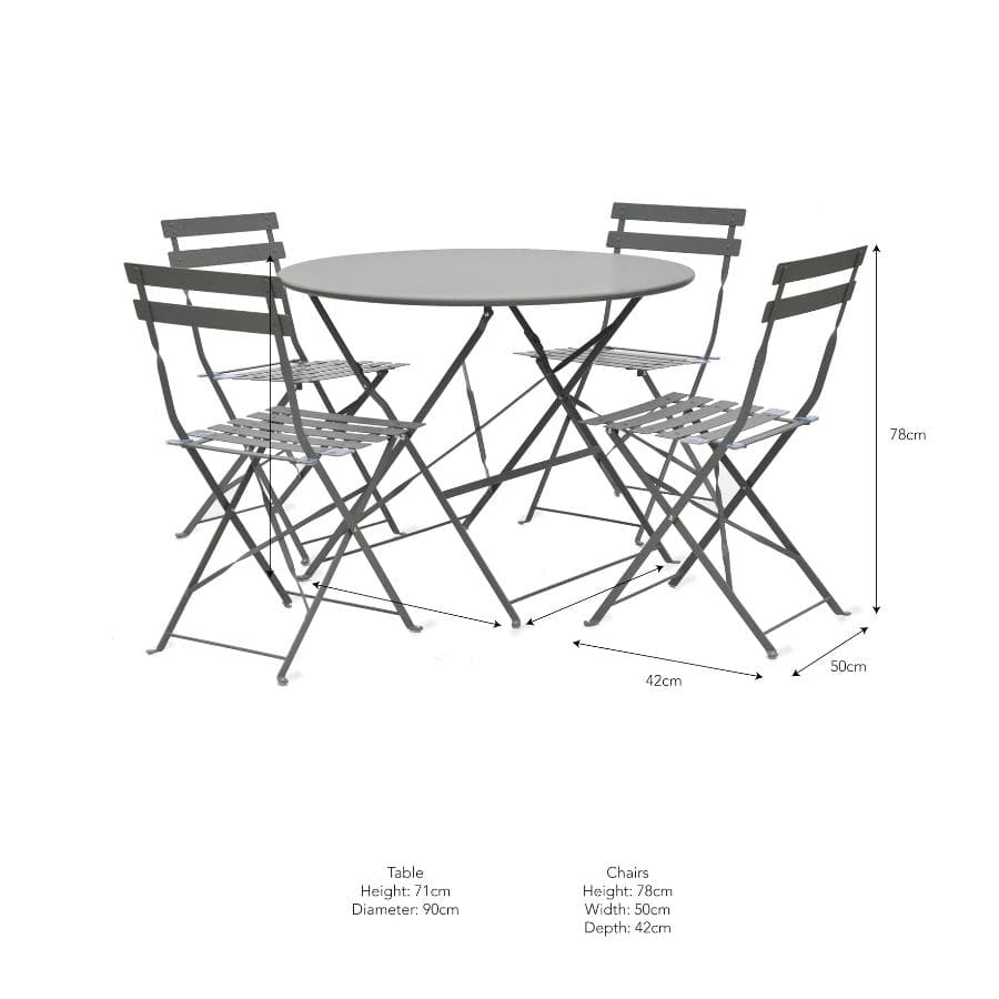 Large Bistro Set of Table and 4 Chairs - Carbon Black at the Farthing