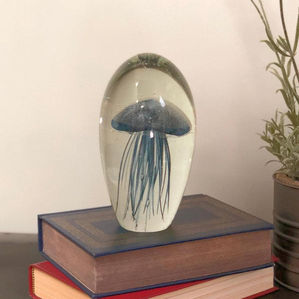 Large Blown Glass Grey Blue Jellyfish Paperweight at the Farthing