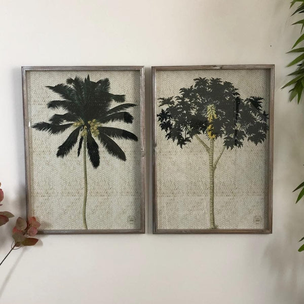 Large Distressed Palm Tree Illustrations - set of two | Farthing