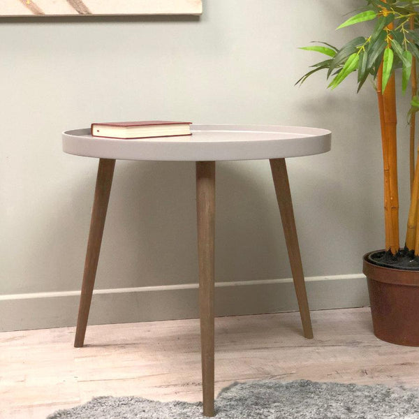 Large Round Grey Side Table at the Farthing