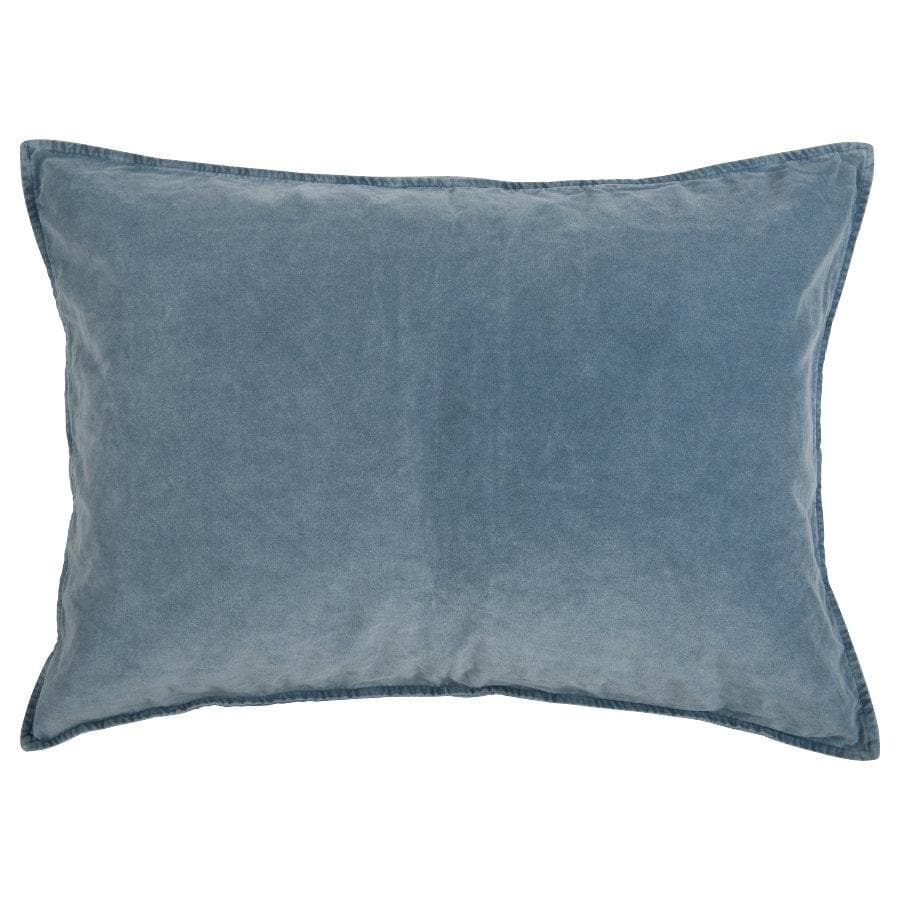 Large Soft Velvet Rectangle Cushion - Soft Blue | The Farthing