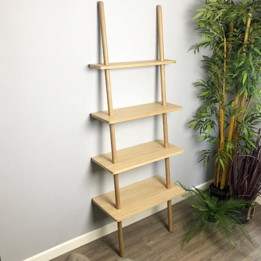 Leaning Oak Display Shelf Ladder at the Farthing 1
