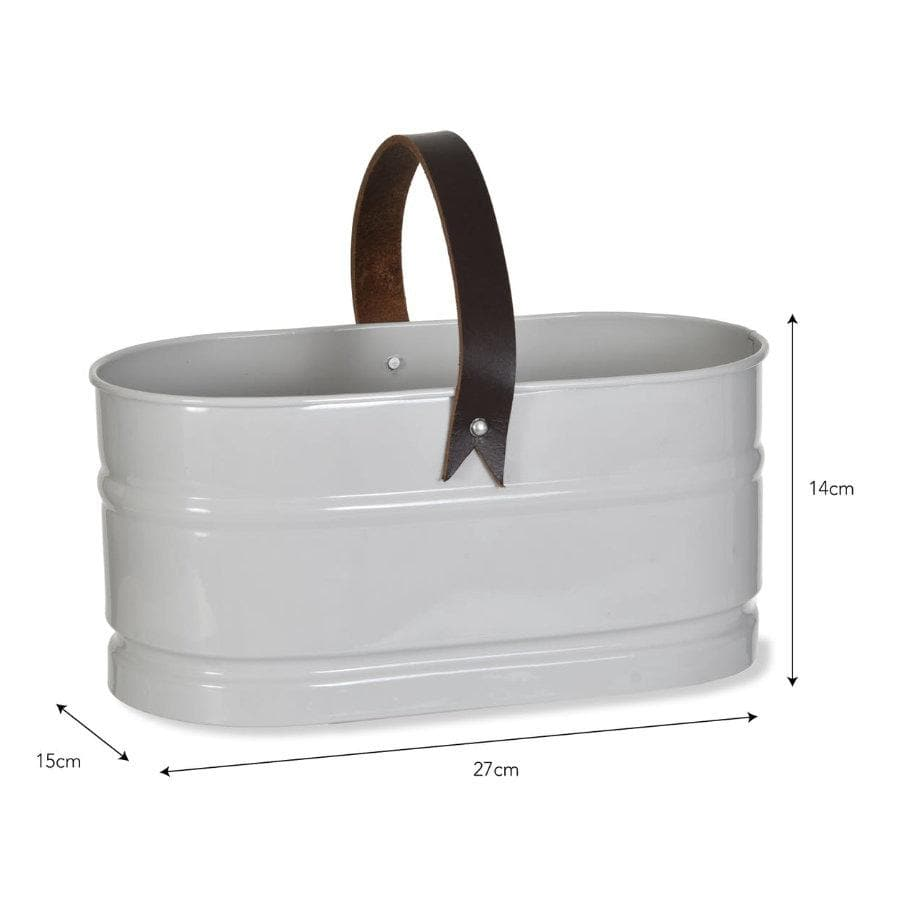 Leather handled Utility Storage Bucket | The Farthing