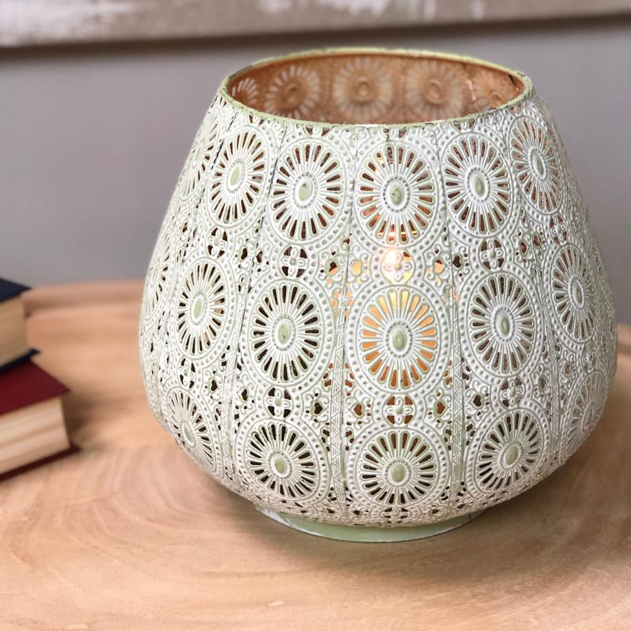 Pale Green Filigree Metal Votive | Farthing  2
