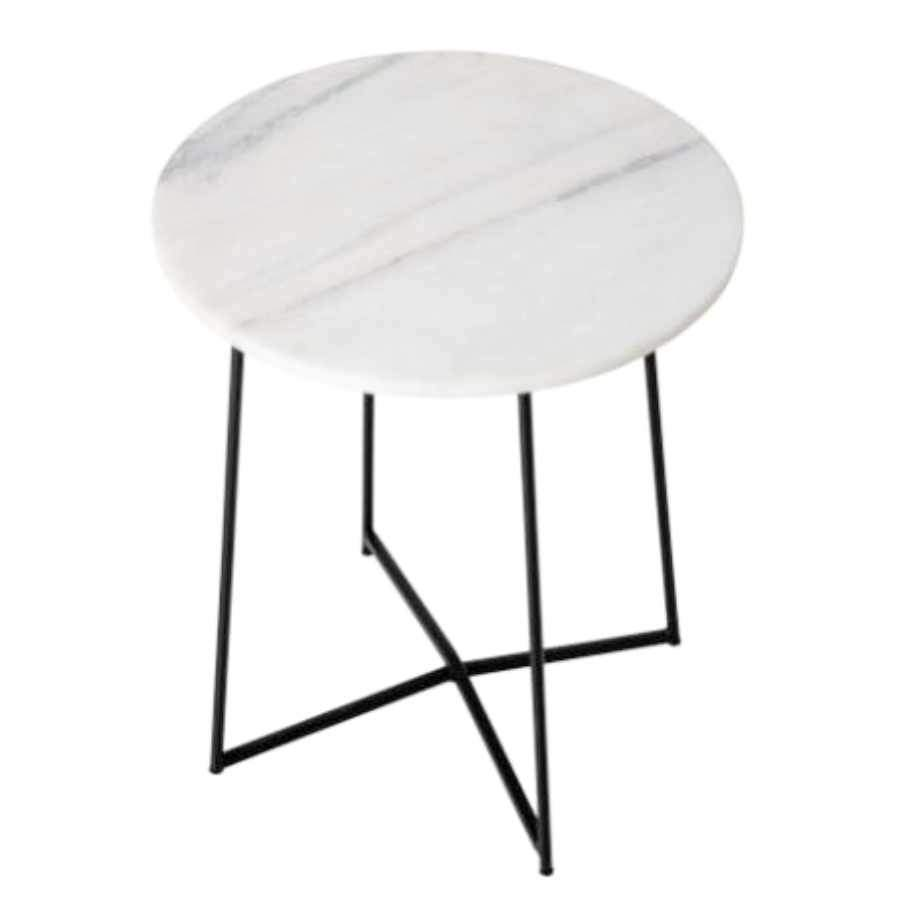 Light Marble Top Side Table