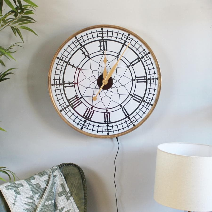 Light Up Led Gold Wall Clock at the Farthing 1