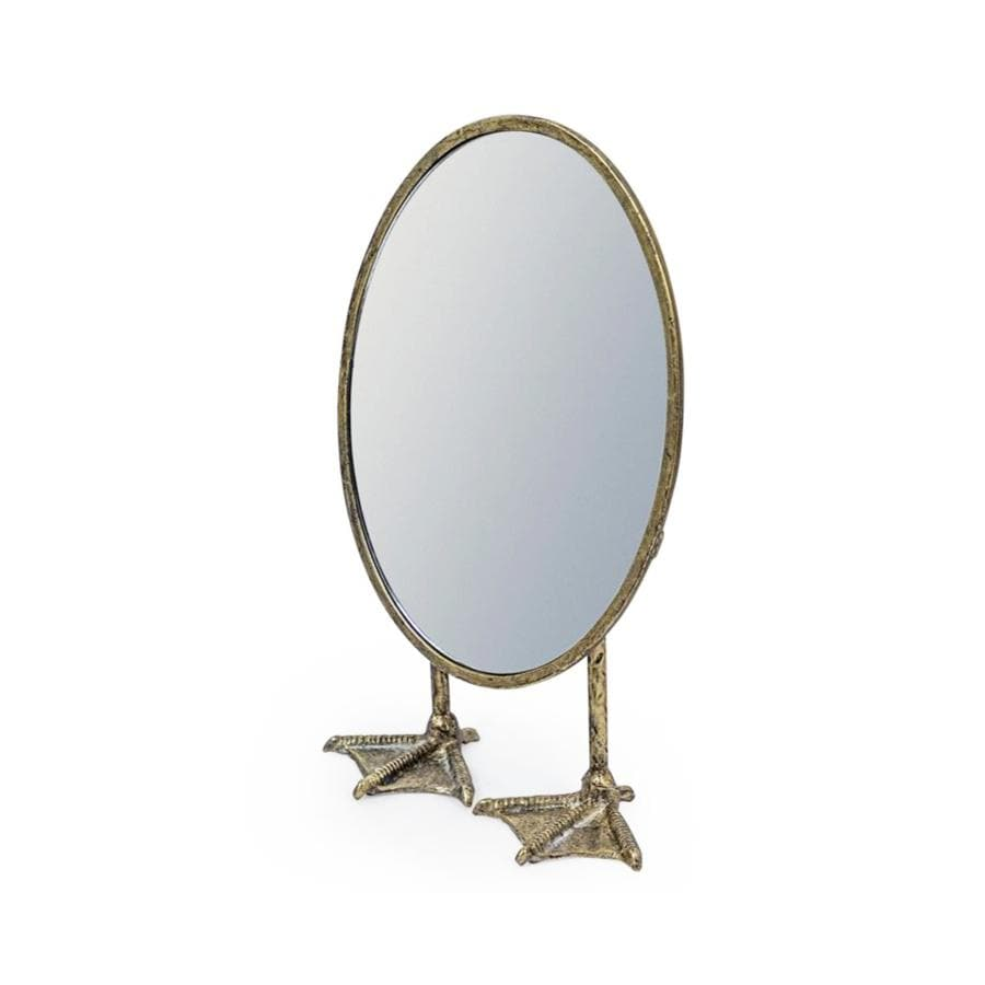 Low Vintage Pewter Oval Duck Table Mirror at the Farthing