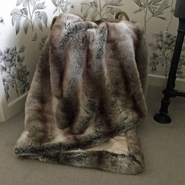 Luxury Soft Faux Fur Throw in Brown Stripe - Extra Large - The Farthing  - 1