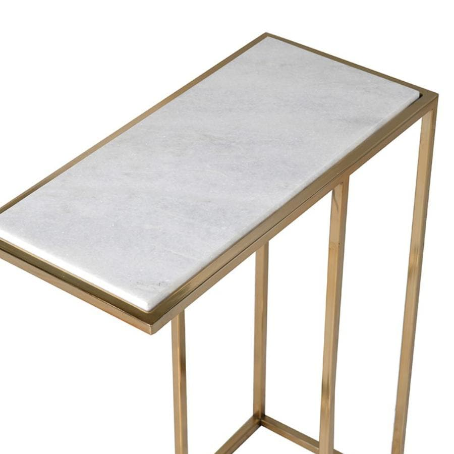 Marble Top Metal C shaped Side Table at the Farthing