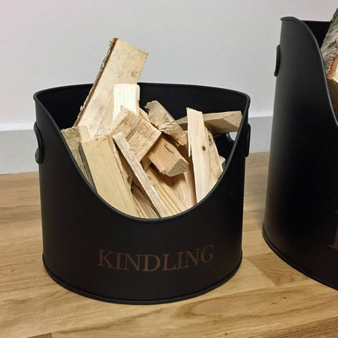 Matt Black Metal Kindling Basket - The Farthing